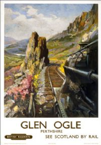 Glen Ogle, Perthshire, BR (ScR) Vintage Travel Poster by Terence Cuneo. c1950